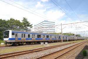 勝田車両センターに入区するE531系モノクラス10連