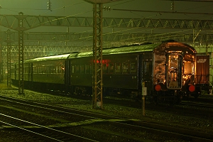 水戸に留置中の旧型客車・留置位置が変わっていました。